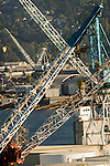 Cranes at Swan Island ship repair in Portland, OR.