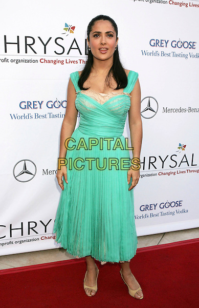 SALMA HAYEK.Chrysalis's 5th Annual Butterfly Ball held at the Italian Villa of Carla and Fred Sands, Bel Air, California, USA..June 10th, 2006.Photo: Russ Elliot/AdMedia/Capital Pictures.Ref: RE/ADM.full length green dress.www.capitalpictures.com.sales@capitalpictures.com.© Capital Pictures.