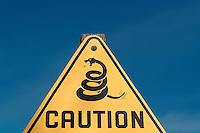 Rattlesnake Warning Sign in Death Valley National Park, California, CA, USA