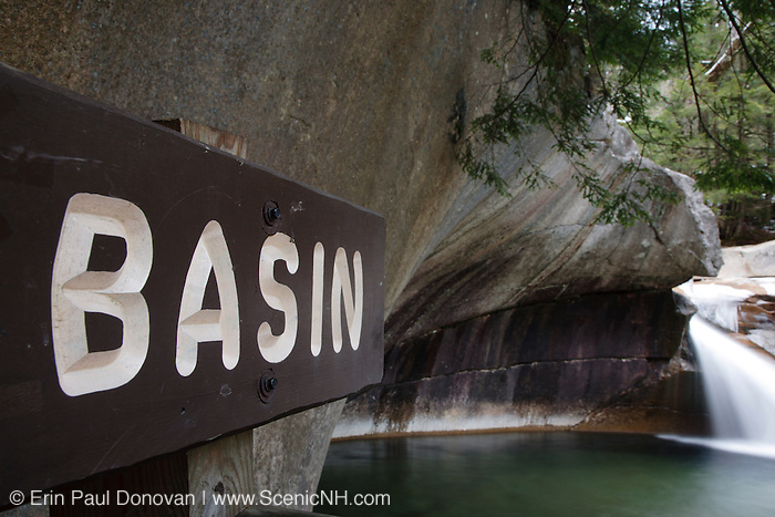 Franconia Notch State Park - The Basin viewing area along the Pemigewasset River in Lincoln, New Hampshire USA.