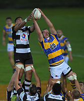 Alex Ainley wins lineout ball during the Mitre 10 Cup Championship rugby final between Bay Of Plenty Steamers and Hawkes Bay Magpies at Rotorua International Stadium, New Zealand on Friday, 25 October 2019. Photo: Dave Lintott / lintottphoto.co.nz