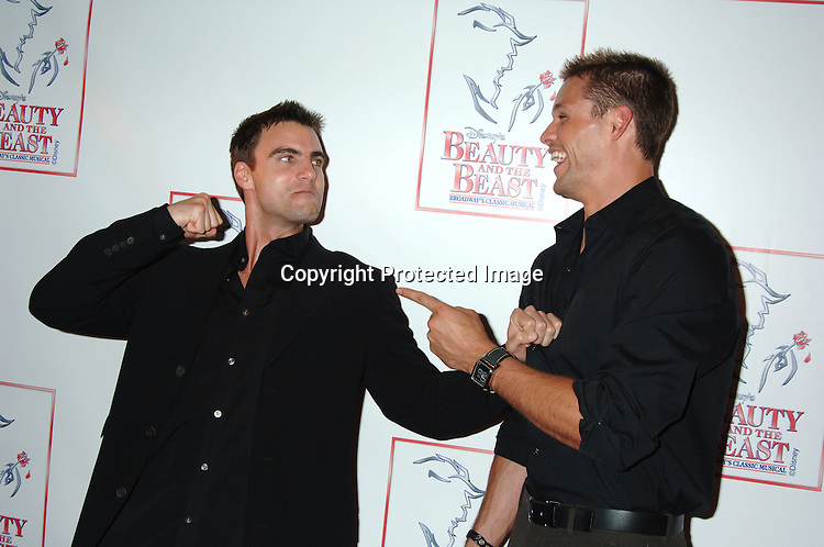 "Colin Egglesfield and Justin Bruening..at The 5000th performance of ""Beauty and The Beast""..on June 20, 2006 at The Lunt-Fontanne Theatre...Jacob Young of All My Children is starring as Lumiere. ..Robin Platzer, Twin Images"