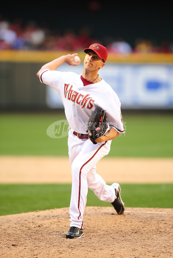Apr. 5, 2010; Phoenix, AZ, USA; Arizona Diamondbacks pitcher Bob Howry against the San Diego Padres during opening day at Chase Field. Mandatory Credit: Mark J. Rebilas-