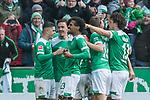 13.04.2019, Weserstadion, Bremen, GER, 1.FBL, Werder Bremen vs SC Freiburg<br /> <br /> DFL REGULATIONS PROHIBIT ANY USE OF PHOTOGRAPHS AS IMAGE SEQUENCES AND/OR QUASI-VIDEO.<br /> <br /> im Bild / picture shows<br /> Jubel 2:0, Theodor Gebre Selassie (Werder Bremen #23) bejubelt seinen Treffer zum 2:0 mit Teamkollegen, Milot Rashica (Werder Bremen #11), Max Kruse (Werder Bremen #10), Niklas Moisander (Werder Bremen #18), Milos Veljkovic (Werder Bremen #13), <br /> <br /> Foto &copy; nordphoto / Ewert