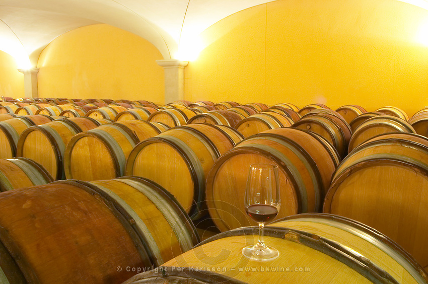 the barrel aging cellars with vaulted ceiling. A glass of wine on top of a barrel in the foreground. Domaine Gilles Robin, Les Chassis, Mercurol, Drome, Drôme, France, Europe