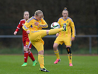 20150404 - FORST , GERMANY  : Ukrainian Tetiana Polyukovych  pictured during the soccer match between Women Under 19 teams of Belgium and Ukraine , on the first matchday in group 5 of the UEFA Elite Round Women Under 19 at WaldseeStadion , Forst , Germany . Saturday 4th April 2015 . PHOTO DAVID CATRY