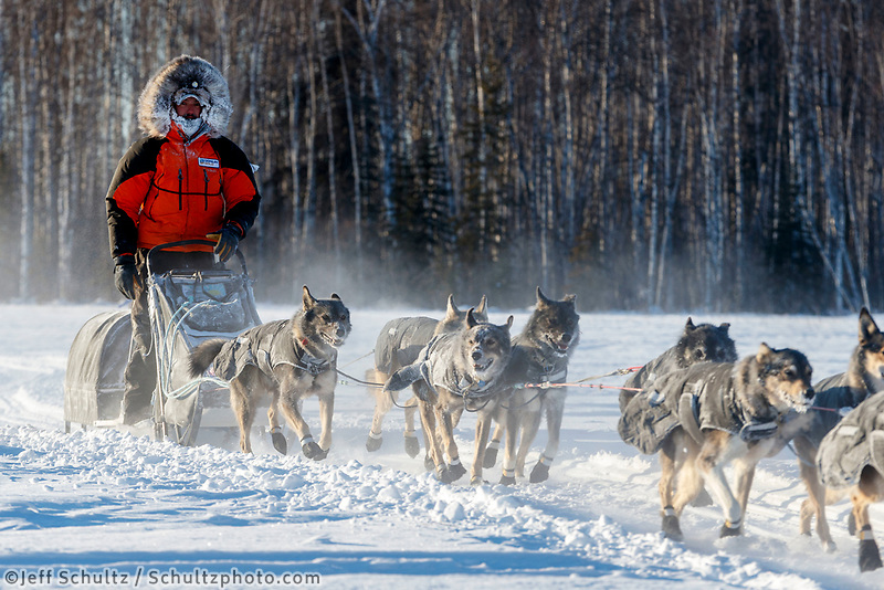 Peter Kaiser on the trail in sub-zero temps leaving the checkpoint in Manley Hot Springs during the 2017 Iditarod on Tuesday March 7, 2017.<br /> <br /> Photo by Jeff Schultz/SchultzPhoto.com  (C) 2017  ALL RIGHTS RESVERVED