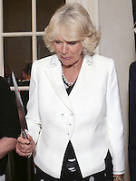 17 May 2016 - London, England - Camilla Duchess of Cornwall holds a knife after cutting a cake, at a reception to celebrate the 25th anniversary of the charity - which supports former homeless people by giving them a home within one of its Emmaus Communities - at the French Ambassador's Residence in Kensington, London. Photo Credit: ALPR/AdMedia
