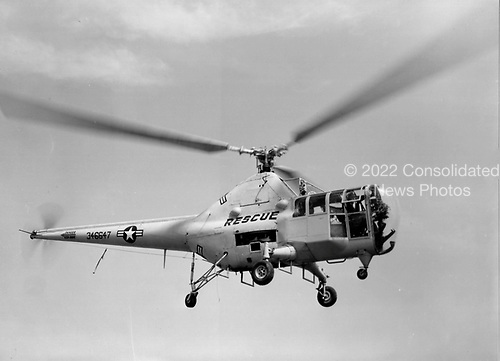 "The H-5 ""Dragon Fly"", originally designated the R-5 (H for Helicopter; R for Rotorcraft), was designed to provide a helicopter having greater useful load, endurance, speed, and service ceiling than the R-4. The first XR-5 of four ordered made its initial flight on August 18, 1943. In March 1944, the United States Army air Force (AAF) ordered 26 YR-5As for service testing, and in February 1945, the first YR-5A was delivered.   During its service life, the H-5 was used for rescue and mercy missions throughout the world. It gained its greatest fame, however, during the Korean War when it was called upon repeatedly to rescue United Nations' pilots shot down behind enemy lines and to evacuate wounded personnel from frontline areas.   More than 300 H-5s had been built by the time production was halted in 1951..Credit: U.S. Air Force via CNP"