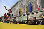 Lotto-Soudal at the team presentation in Antwerp before the start of the 2019 Ronde Van Vlaanderen 270km from Antwerp to Oudenaarde, Belgium. 7th April 2019.<br /> Picture: Eoin Clarke | Cyclefile<br /> <br /> All photos usage must carry mandatory copyright credit (&copy; Cyclefile | Eoin Clarke)