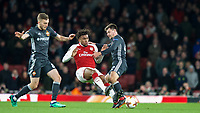 Alex Iwobi of Arsenal & Georgi Schennikov of CSKA Moscow during the UEFA Europa League QF 1st leg match between Arsenal and CSKA Moscow  at the Emirates Stadium, London, England on 5 April 2018. Photo by Andrew Aleksiejczuk / PRiME Media Images.