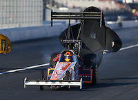 Nov 8, 2013; Pomona, CA, USA; NHRA top fuel dragster driver Clay Millican during qualifying for the Auto Club Finals at Auto Club Raceway at Pomona. Mandatory Credit: Mark J. Rebilas-