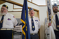 NWA Democrat-Gazette/CHARLIE KAIJO American Legion Post 100 members, Gene Peavler of Rogers, Mike Carney of Rogers and Michael Pyle of Rogers sing on Sunday, November 12, 2017 at Monte Ne Baptist Church in Rogers. The church held a special Veterans Day color guard ceremony with special guests from the American Legion Post 100