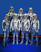Original 7 astronauts in Mercury space suits photographed on December 3, 1962.  Front row, left to right, are Walter M. Schirra Jr., Donald K. Slayton, John H. Glenn, Jr., and M. Scott Carpenter. Back row, from the left, are Alan B. Shepard Jr., Virgil I.Grissom and L. Gordon Cooper Jr. EDITOR'S NOTE: Since this photo was made: Grissom died on January 27, 1967, in the Apollo 1/Saturn 204 fire at Cape Kennedy, Florida; Slayton died June 13, 1993 in League City, Texas, from complications of a brain tumor. Shepard died on July 21, 1998.  Cooper died October 4, 2004. Schirra died on May 2, 2007  Astronauts Carpenter and Glenn have either retired or resigned from the space program. United States Senator John H. Glenn Jr. (Democrat of Ohio) flew as payload specialist for the STS-95 mission of the Space Shuttle Discovery in October, 1998..Credit: NASA via CNP