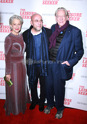 NEW YORK, NY January 11, 2018:Helen Mirren, Paolo Virzi, Donald Sutherland attend Sony Pictures Classics  present screening of The Leisure Seeker  at AMC Loews Lincoln Square  in New York City.January  11, 2018. Credit:RW/MediaPunch