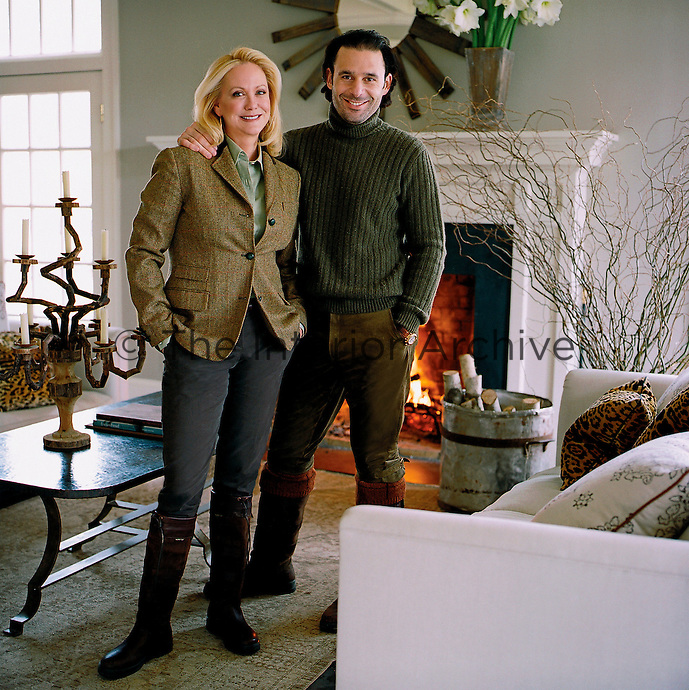 Nina Griscom and her husband Leonel Piraino in their living room
