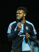 Aaron Holloway of Wycombe Wanderers complains about shirt pulling during the Sky Bet League 2 match between Yeovil Town and Wycombe Wanderers at Huish Park, Yeovil, England on 24 November 2015. Photo by Andy Rowland.