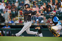 Jupiter Hammerheads Micah Brown (5) hits a home run during a Florida State League game against the Bradenton Marauders on April 20, 2019 at LECOM Park in Bradenton, Florida.  Bradenton defeated Jupiter 3-2.  (Mike Janes/Four Seam Images)