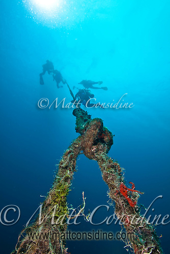 Divers using the mooring line of a buoy marking the wreck of the Iro, Palau Micronesia. (Photo by Matt Considine - Images of Asia Collection) (Matt Considine)