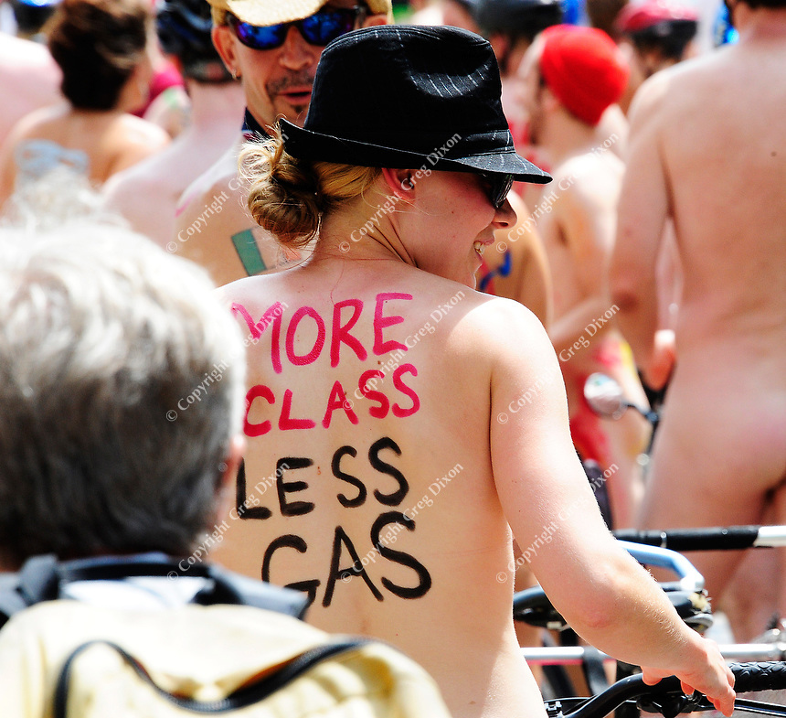 Some bikers promote saving gas during the annual World Naked Bike Ride on Sat., 6/16/12, in Madison, Wisconsin