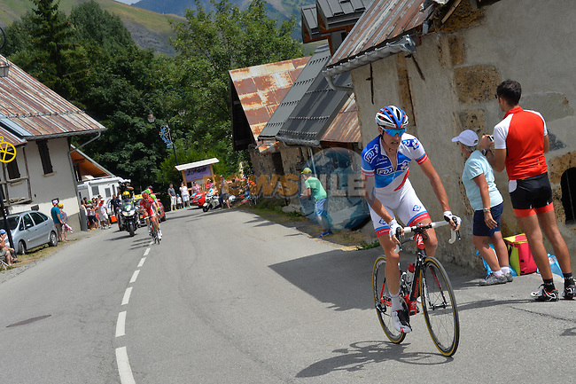 Alexandre GENIEZ (FRA) FDJ out front during Stage 20 of the 2015 Tour de France running 110.5km from Modane Valfrejus to Alpe d'Huez, France. 25th July 2015.<br /> Photo: ASO/B.Bade/Newsfile