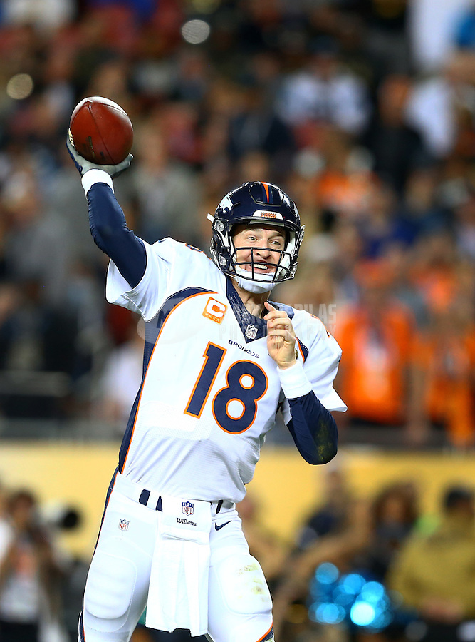 Feb 7, 2016; Santa Clara, CA, USA; Denver Broncos quarterback Peyton Manning (18) throws a pass for a two-point conversion against the Carolina Panthers in the fourth quarter in Super Bowl 50 at Levi's Stadium. It was his final pass of the game. Mandatory Credit: Mark J. Rebilas-USA TODAY Sports