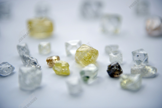 A selection of large uncut diamonds, including some over 100 carats, at the Alrosa headquarters in Moscow, Russia, May 8, 2009.