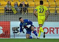 Phoenix's Stefan Marinovic celebrates a save during the A-League football match between Wellington Phoenix and Brisbane Roar at Westpac Stadium in Wellington, New Zealand on Saturday, 23 November 2019. Photo: Dave Lintott / lintottphoto.co.nz