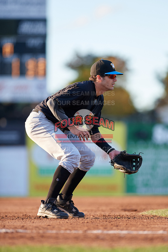 West Virginia Black Bears third baseman Dylan Busby (18) during a game against the Batavia Muckdogs on August 5, 2017 at Dwyer Stadium in Batavia, New York.  Batavia defeated Williamsport 3-2.  (Mike Janes/Four Seam Images)