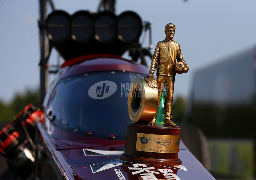 Aug. 18, 2013; Brainerd, MN, USA: Detailed view of the Wally trophy on the car of NHRA top fuel dragster driver Spencer Massey after winning the Lucas Oil Nationals at Brainerd International Raceway. Mandatory Credit: Mark J. Rebilas-
