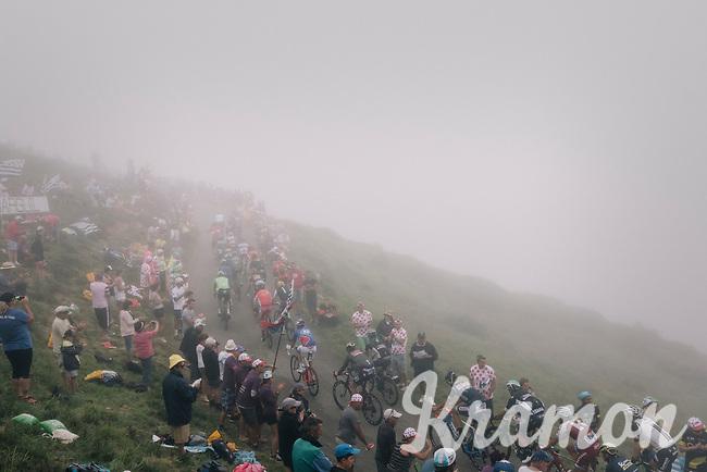 The grupetto up the misty Port de Bal&egrave;s (HC/1755m/11.7km/7.7%)<br /> <br /> 104th Tour de France 2017<br /> Stage 12 - Pau &rsaquo; Peyragudes (214km)