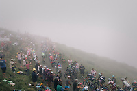 The grupetto up the misty Port de Bal&egrave;s (HC/1755m/11.7km/7.7%)<br /> <br /> 104th Tour de France 2017<br /> Stage 12 - Pau &rsaquo; Peyragudes (214km)