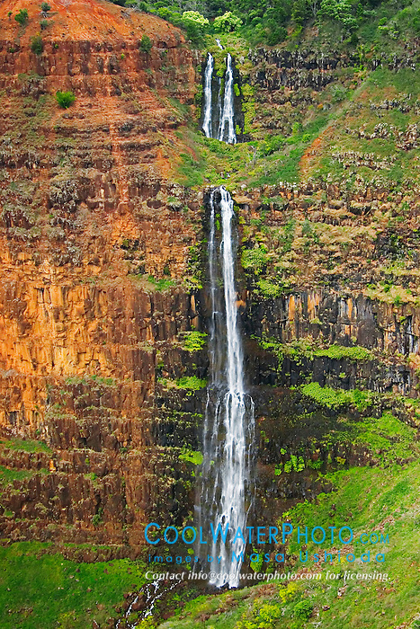 "Waipo`o or Waipoo Falls (800 foot drop), Waimea River and Waimea Canyon, the ""Grand Canyon of the Pacific"", approximately one mile wide and ten miles long, more than 3,500 feet deep, State Park, Kauai, Hawaii"