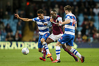 Aston Villa's Albert Adomah vies for possession with Queens Park Rangers' Darnell Furlong and Ryan Manning<br /> <br /> Photographer Andrew Kearns/CameraSport<br /> <br /> The EFL Sky Bet Championship -  Aston Villa v Queens Park Rangers - Tuesday 13th March 2018 - Villa Park - Birmingham<br /> <br /> World Copyright &copy; 2018 CameraSport. All rights reserved. 43 Linden Ave. Countesthorpe. Leicester. England. LE8 5PG - Tel: +44 (0) 116 277 4147 - admin@camerasport.com - www.camerasport.com