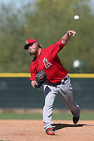 Buddy Boshers #54 of the Los Angeles Angels pitches during a Minor League Spring Training Game against the Oakland Athletics at the Los Angeles Angels Spring Training Complex on March 17, 2014 in Tempe, Arizona. (Larry Goren/Four Seam Images)