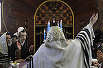 The Rabbi of the Premishlan congregation at the Synagogue on Purim holiday