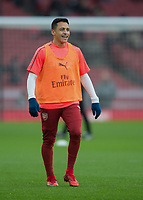 Alexis Sanchez of Arsenal warms up during the Premier League match between Arsenal and Newcastle United at the Emirates Stadium, London, England on 16 December 2017. Photo by Vince  Mignott / PRiME Media Images.