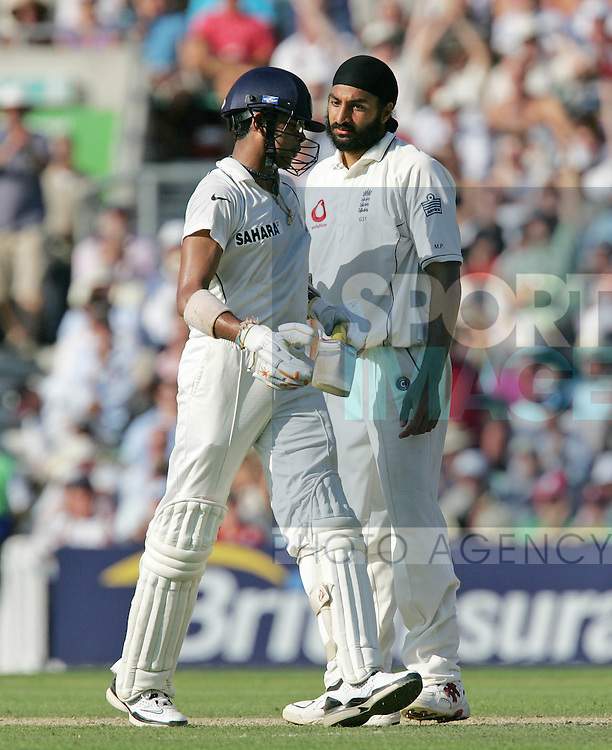 England's Monty Panesar has words with India's S. Sreesanth.Pic SPORTIMAGE/David Klein
