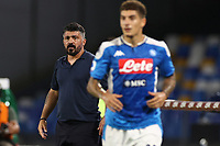 Gennaro Gattuso coach of SSC Napoli<br /> during the Serie A football match between SSC  Napoli and US Sassuolo at stadio San Paolo in Naples ( Italy ), July 25th, 2020. Play resumes behind closed doors following the outbreak of the coronavirus disease. <br /> Photo Cesare Purini / Insidefoto