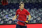 Leipzig, Germany, February 08: Evgeny Mokrousov #2 of Russia looks on during the placement match (5th / 6th) between Sweden (yellow) and Russia (red) on February 8, 2015 at the FIH Indoor Hockey World Cup at Arena Leipzig in Leipzig, Germany. Final score 1-3 (1-0). (Photo by Dirk Markgraf / www.265-images.com) *** Local caption ***