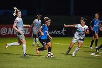 Kansas City, MO - Saturday July 22, 2017: Samantha Mewis, Desiree Scott, Abby Erceg during a regular season National Women's Soccer League (NWSL) match between FC Kansas City and the North Carolina Courage at Children's Mercy Victory Field.