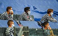 Erik Durm (Eintracht Frankfurt), Danny da Costa (Eintracht Frankfurt), Frederik Roennow (Eintracht Frankfurt) mit Mundschutz auf der Tribuene<br />  - 16.05.2020, Fussball 1.Bundesliga, 26.Spieltag, Eintracht Frankfurt  - Borussia Moenchengladbach emspor, v.l. Stadionansicht / Ansicht / Arena / Stadion / Innenraum / Innen / Innenansicht / Videowall<br /> <br /> <br /> Foto: Jan Huebner/Pool VIA Marc Schüler/Sportpics.de<br /> <br /> Nur für journalistische Zwecke. Only for editorial use. (DFL/DFB REGULATIONS PROHIBIT ANY USE OF PHOTOGRAPHS as IMAGE SEQUENCES and/or QUASI-VIDEO)