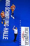 06.05.2018, Max Schmeling Halle, Berlin<br />Volleyball, Bundesliga MŠnner / Maenner, Play-offs, Finale 4. Spiel, Berlin Recycling Volleys vs. VfB Friedrichshafen<br /><br />Steven Marshall (#2 Berlin), Aleksandar Okolic (#1 Berlin), Stelian Moculescu (Trainer / Coach Berlin) enttŠuscht / enttaeuscht / traurig <br /><br />  Foto &copy; nordphoto / Kurth
