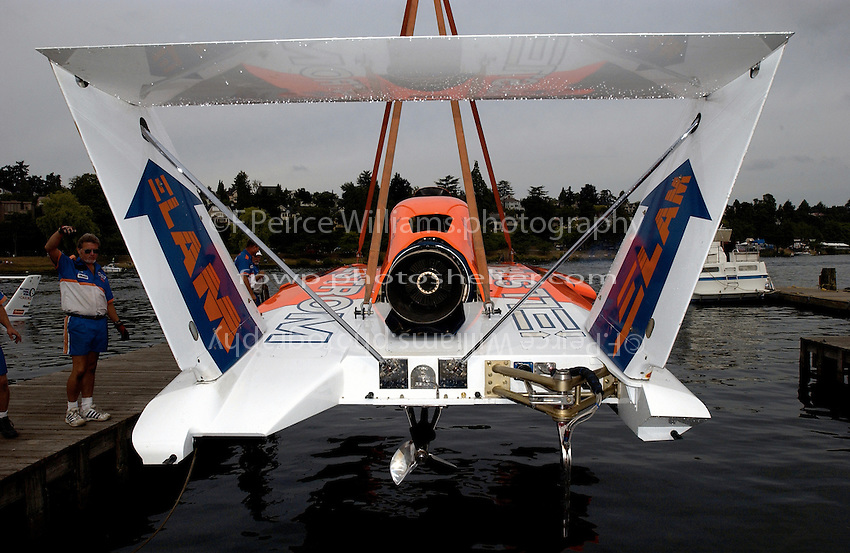Hydros-PROP Seafair, Lake Washington, Seattle, Washington, USA 4 August,2002 Miss Elam Plus is lowered into the water at Seafair..Copyright©F.Peirce Williams 2002...F. Peirce Williams.photography.P.O. Box 455 Eaton, OH 45320 USA.317.358.7326  fpwp@mac.com
