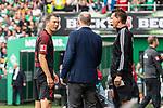 01.09.2019, wohninvest WESERSTADION, Bremen, GER, 1.FBL, Werder Bremen vs FC Augsburg<br /> <br /> DFL REGULATIONS PROHIBIT ANY USE OF PHOTOGRAPHS AS IMAGE SEQUENCES AND/OR QUASI-VIDEO.<br /> <br /> im Bild / picture shows<br /> Stephan Lichtsteiner (FC Augsburg #01) nach Gelb-rote Karte bei Stefan Reuter (Geschaeftsfuehrer Sport FC Augsburg) und Christian Bandurski (4. Offizieller Schiedsrichter / 4th referee), <br /> <br /> Foto © nordphoto / Ewert