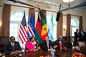 United States President Barack Obama speaks after meeting with President Macky Sall, left, of Senegal, President Joyce Banda ,second left, of Malawi, President Ernest Bai Koroma, second right, of Sierra Leone, and Prime Minister JosÈ Maria Pereira Neves, right, of Cape Verde in the Cabinet Room of the White House in Washington, D.C., U.S., on Thursday, March 28, 2013..Credit: Joshua Roberts / Pool via CNP