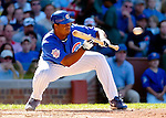 2 July 2005: Jerome Williams, pitcher for the Chicago Cubs, lays down a bunt against the Washington Nationals. The Nationals defeated the Cubs 4-2 in front of 40,488 at Wrigley Field in Chicago, IL. Mandatory Photo Credit: Ed Wolfstein