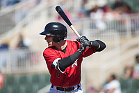 Max Dutto (6) of the Kannapolis Intimidators at bat against the Asheville Tourists at Kannapolis Intimidators Stadium on May 7, 2017 in Kannapolis, North Carolina.  The Tourists defeated the Intimidators 4-1.  (Brian Westerholt/Four Seam Images)
