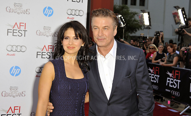 WWW.ACEPIXS.COM....November 4 2012, LA....Actor Alec Baldwin (R) and wife Hilaria Thomas arriving at the gala screening of 'Rise Of The Guardians' during the 2012 AFI FEST at Grauman's Chinese Theatre on November 4, 2012 in Hollywood, California. ......By Line: Peter West/ACE Pictures......ACE Pictures, Inc...tel: 646 769 0430..Email: info@acepixs.com..www.acepixs.com