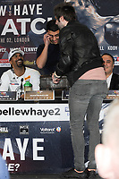 James Buckley from the Inbetweeners is pictured as he interrupts the Undercard and Main Event press conference for Saturday May 5th's boxing at the 02 arena in London. May 3, 2018. Credit: Matrix/MediaPunch ***FOR USA ONLY***<br /><br />REF: TST 181389